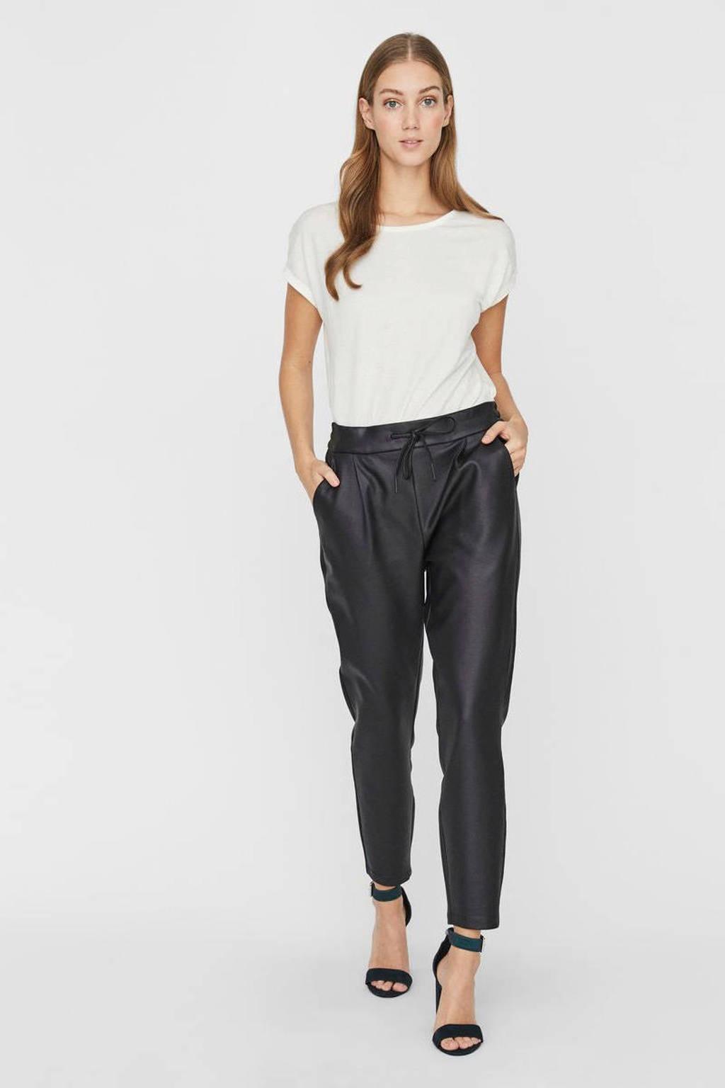 VERO MODA loose fit broek met coating zwart, Zwart