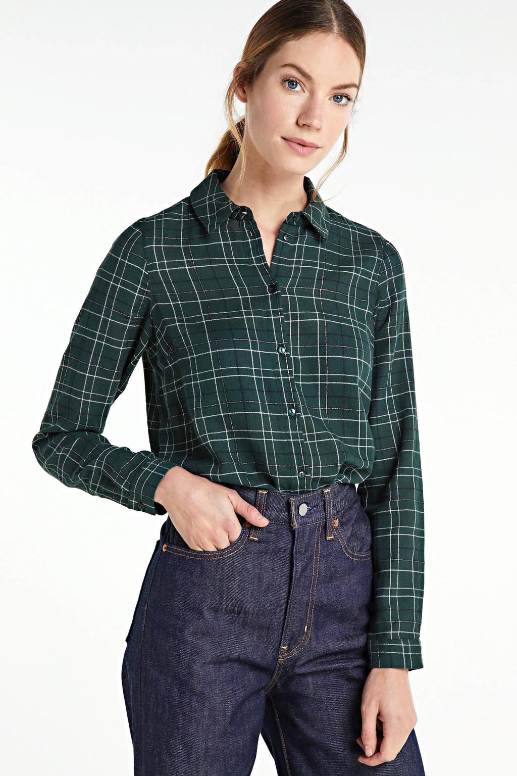 VERO MODA geruite blouse Flo groen, Groen