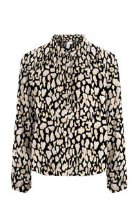 PIECES blouse met all over print zwart, Zwart