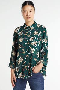 VERO MODA blouse met all over print donkergroen/ecru, Donkergroen/ecru