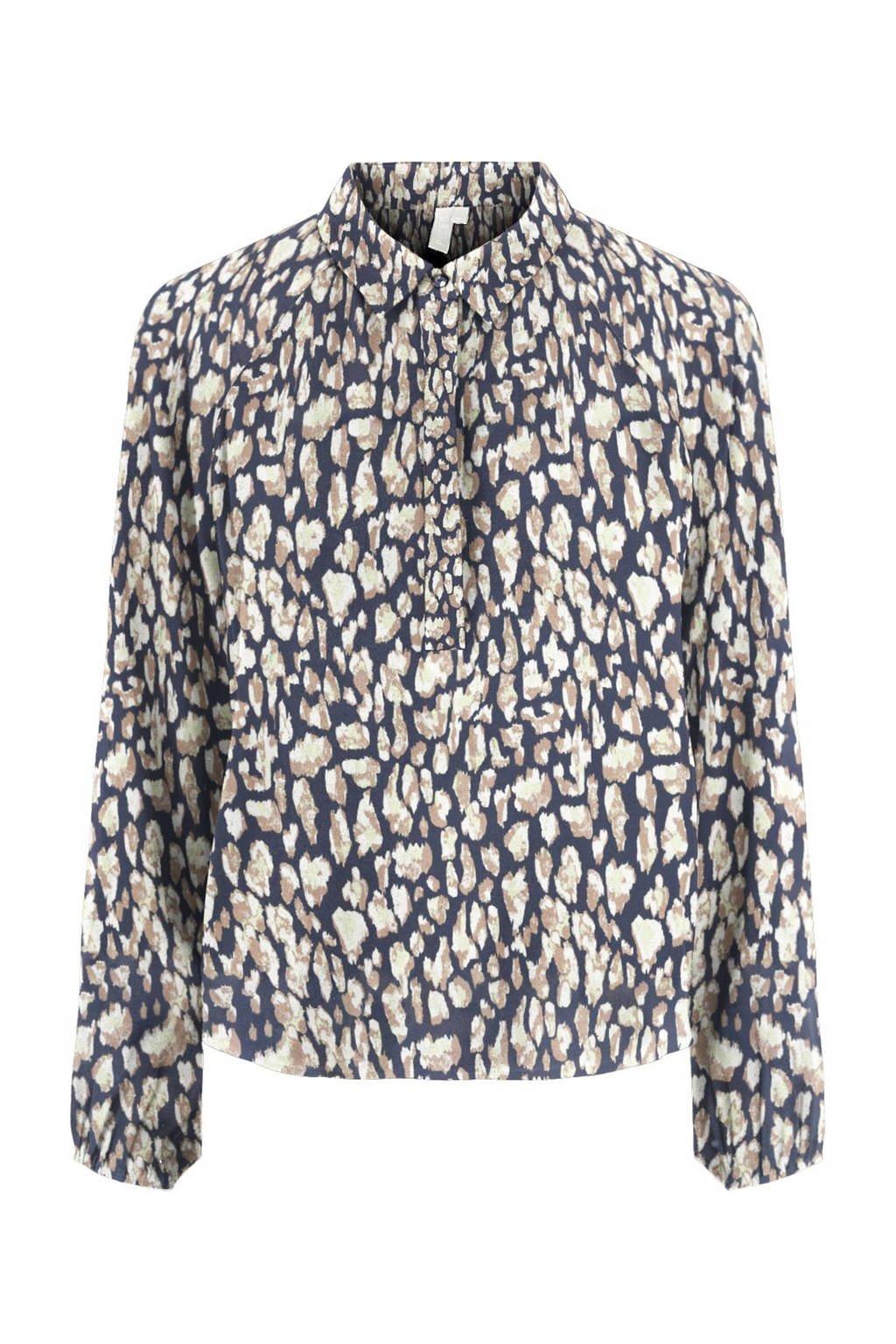 PIECES blouse met all over print blauw, Blauw
