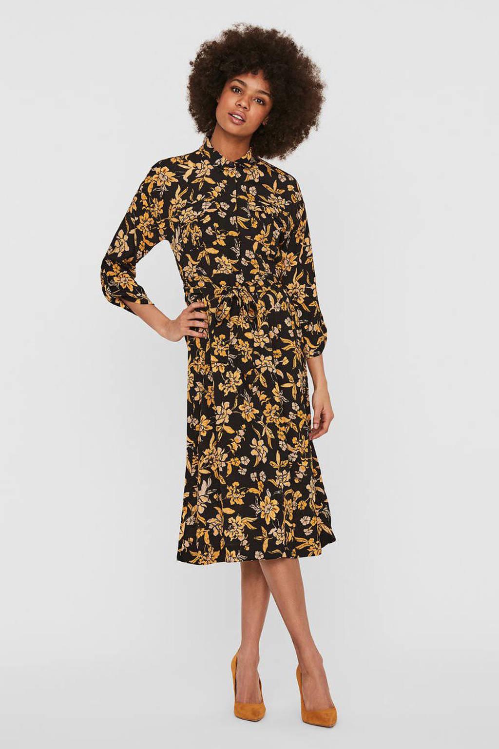 VERO MODA gebloemde blousejurk Filippa zwart/geel, Zwart/geel
