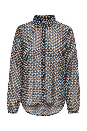 blouse Paris met all over print donkerblauw/wit/bruin