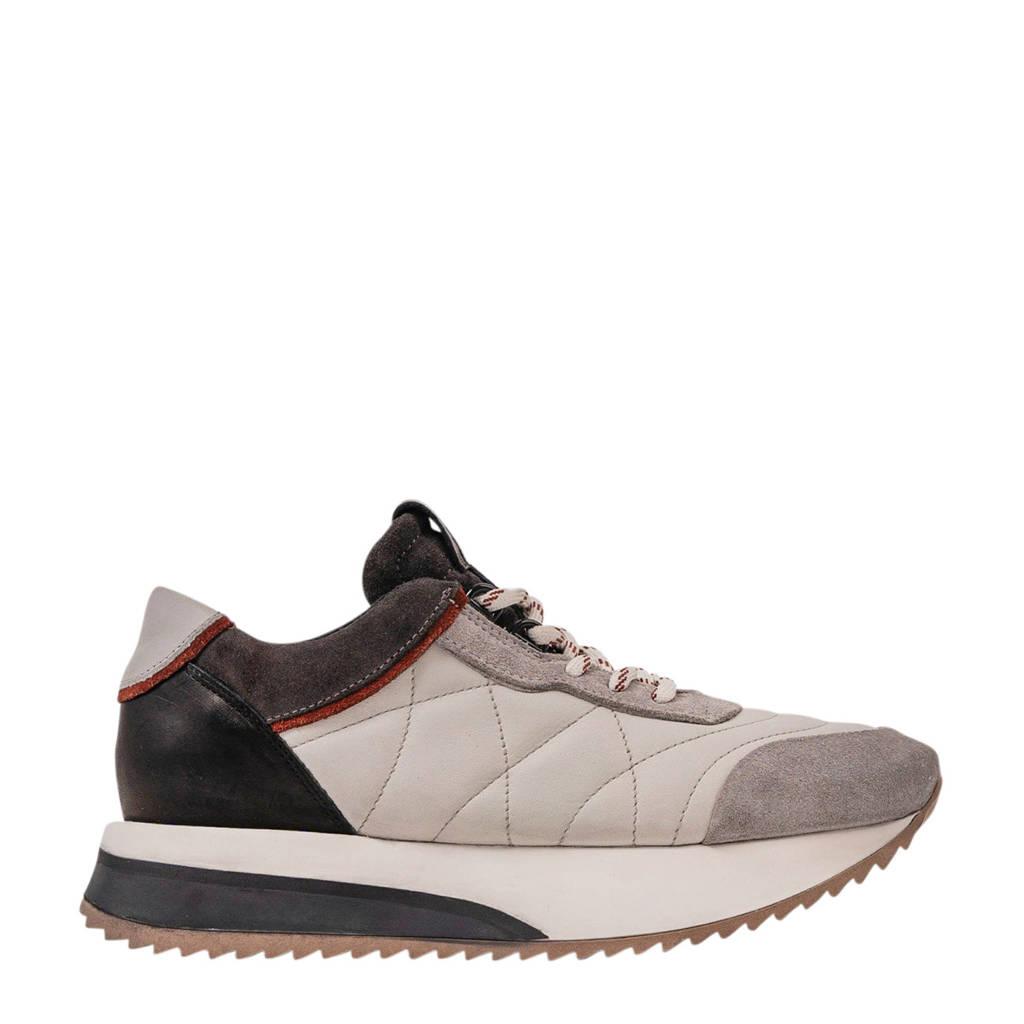 Bronx Nola-Isa Ice suède sneakers lichtgrijs/roest/zwart, Lichtgrijs/rust/asphalt