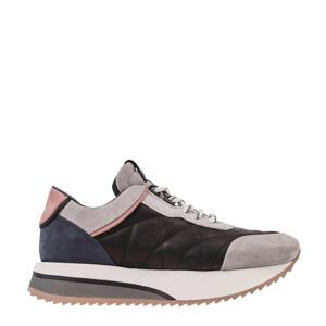 Nola-Isa Ice suède sneakers lichtgrijs/zwart/roze