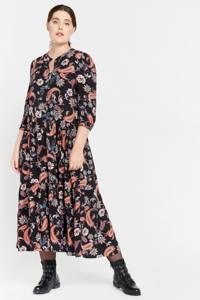 LOLALIZA maxi jurk met paisleyprint zwart/rood/blauw, Zwart/rood/blauw