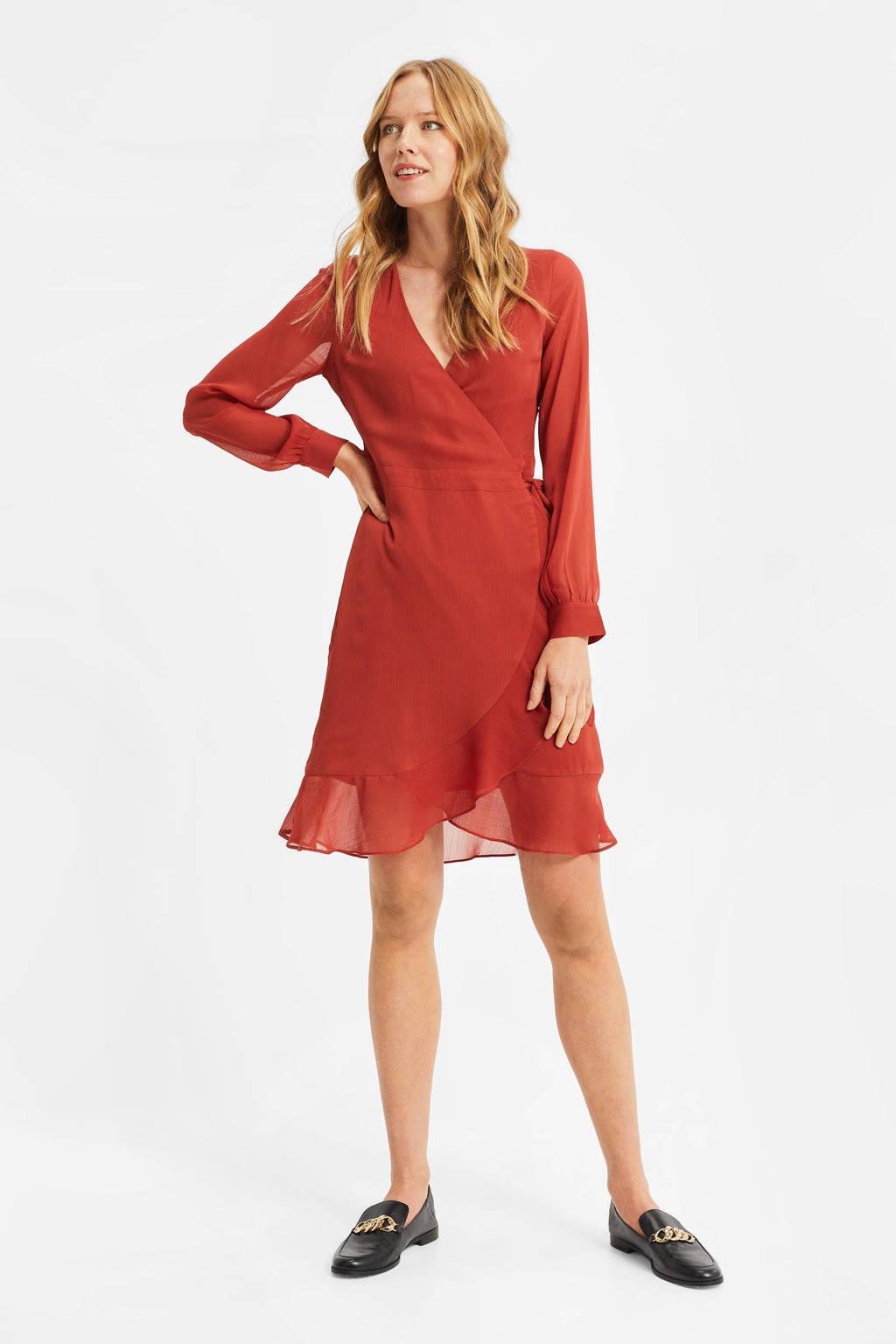 WE Fashion semi-transparante overslagjurk met volant brick red, Brick Red