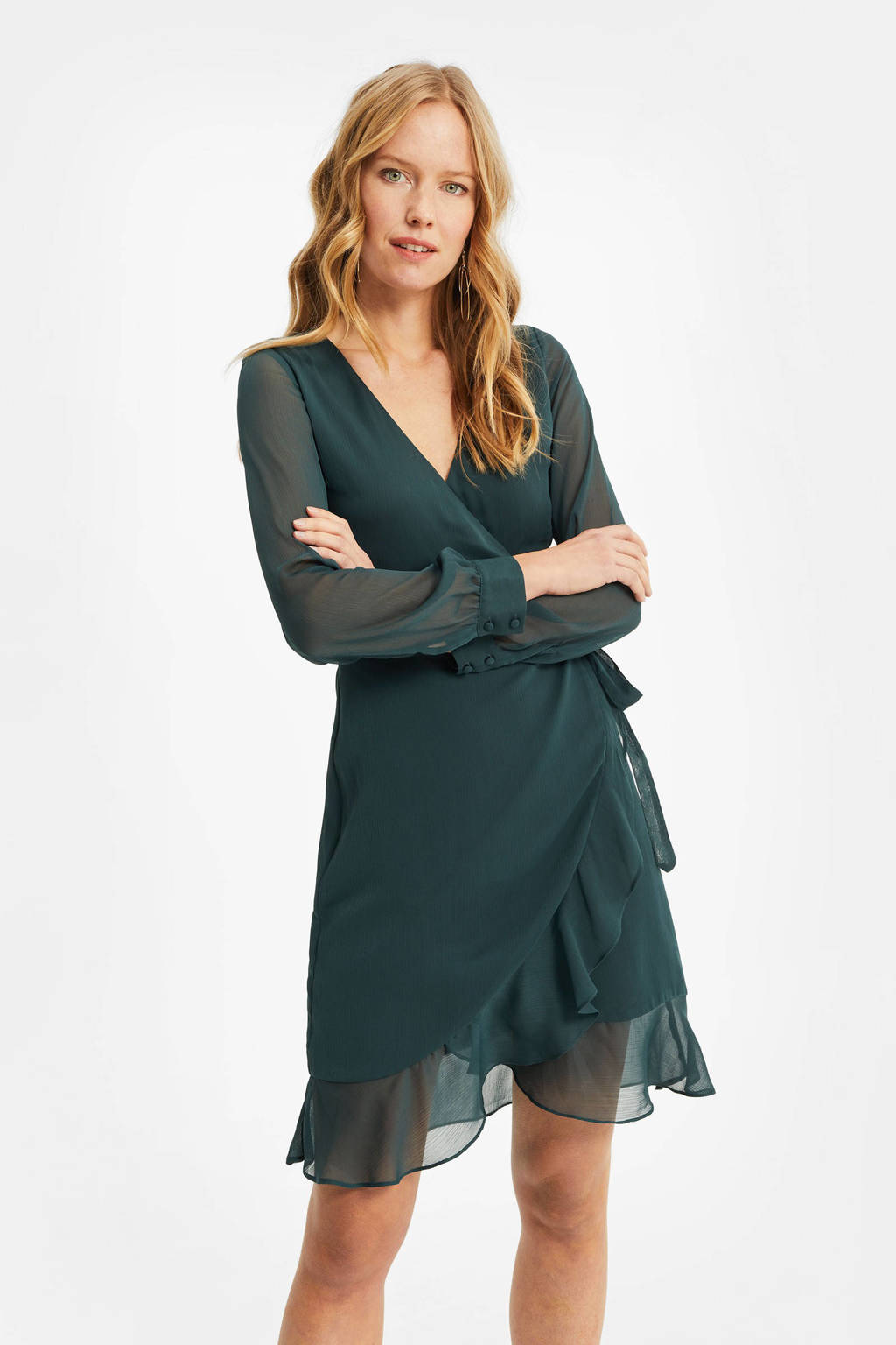 WE Fashion semi-transparante overslagjurk met volant dark green, Dark Green