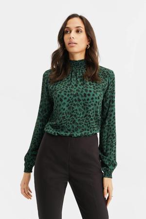 top met all over print donkergroen/groen/zwart