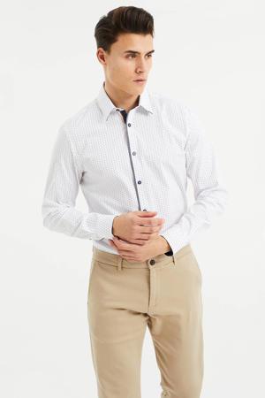 slim fit overhemd met contrastbies white uni