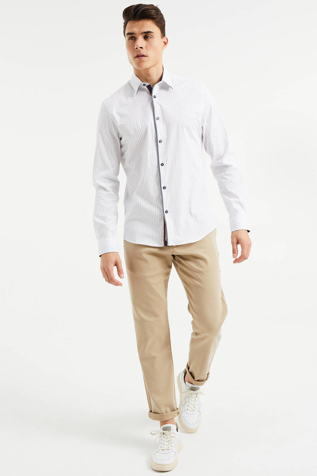 WE Fashion slim fit overhemd met contrastbies white uni, White Uni