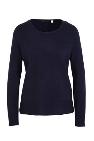 fijngebreide wollen trui donkerblauw