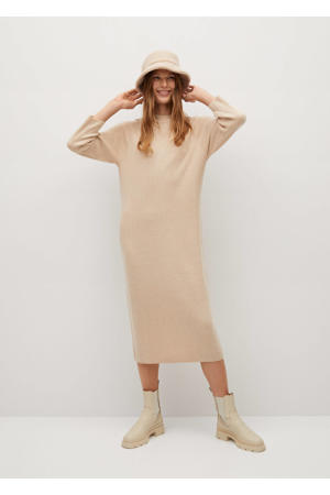 fijngebreide jurk van gerecycled polyester zand