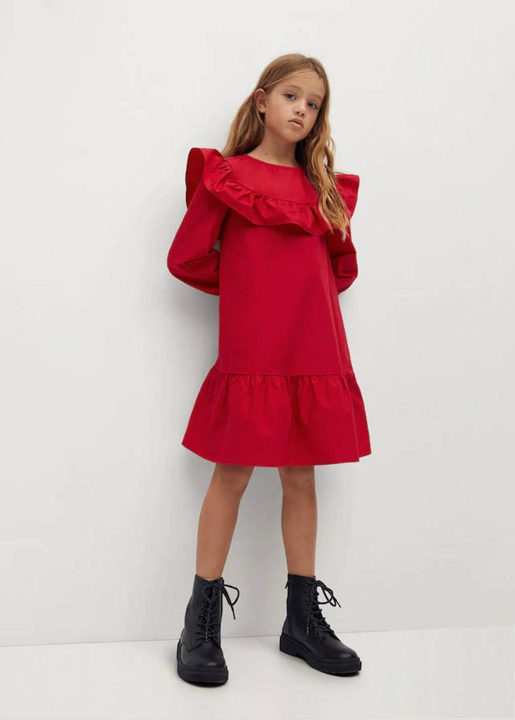 Mango Kids A-lijn jurk met ruches rood, Rood