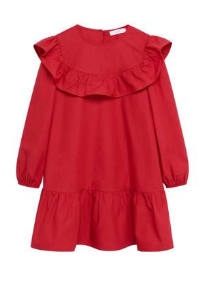 A-lijn jurk met ruches rood