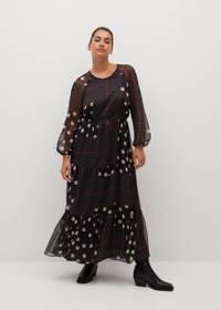 Violeta by Mango jurk met stippen zwart, Zwart