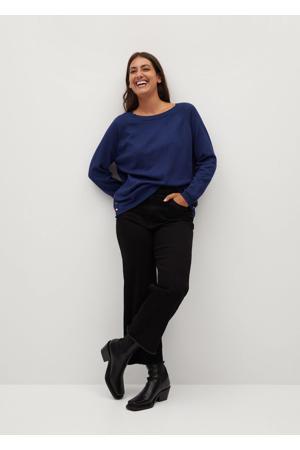 fijngebreide trui met open detail blauw