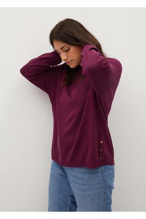 fijngebreide trui met open detail paars