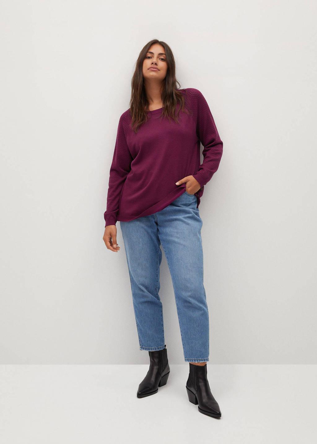 Violeta by Mango fijngebreide trui met open detail paars, Paars