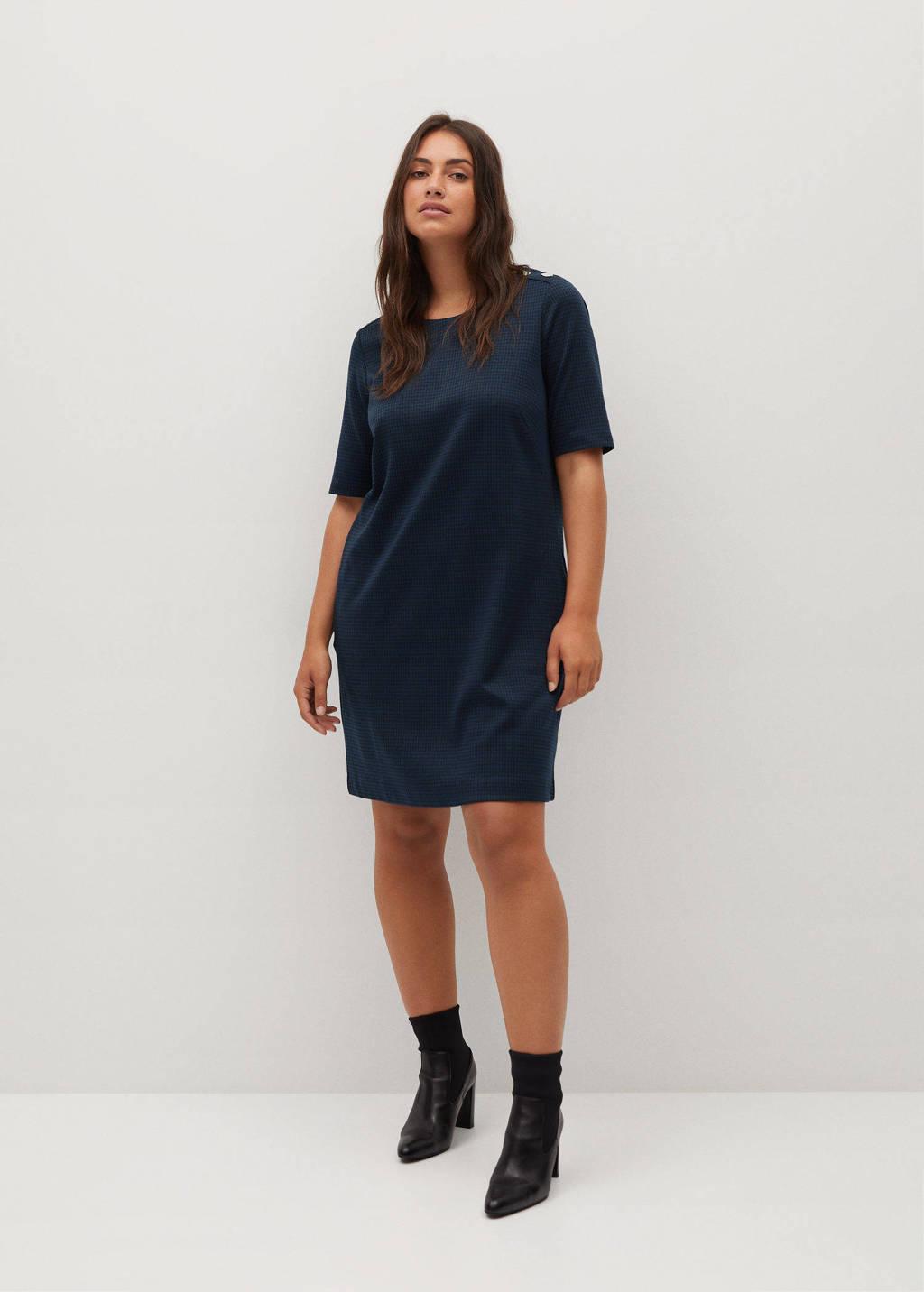 Violeta by Mango T-shirtjurk met pied-de-poule marine, Marine