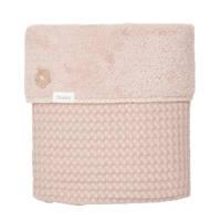 Koeka Oslo baby wiegdeken wafel/teddy 75x100 cm grey pink/grey pink, Oudroze