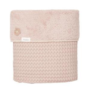 Oslo baby wiegdeken wafel/teddy 75x100 cm grey pink/grey pink