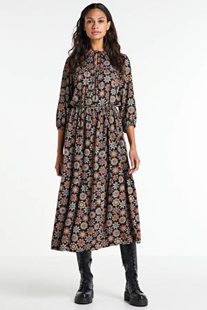 maxi jurk met all over print en plooien donkerblauw/multi