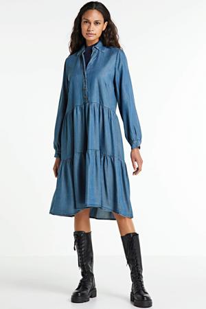 spijkerjurk met volant blauw