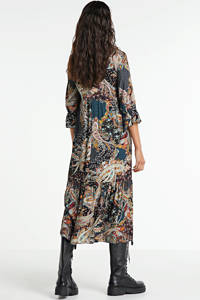 Transfer maxi jurk met all over print en volant groen/multi, Groen/multi