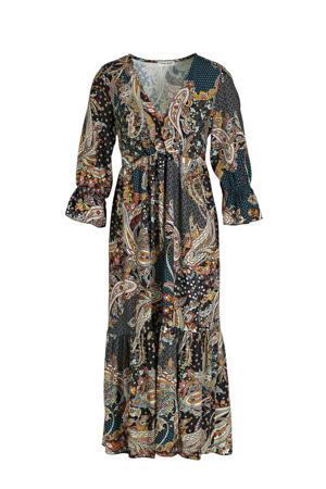maxi jurk met all over print en volant groen/multi