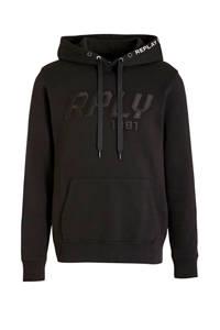 REPLAY hoodie met logo zwart, Zwart
