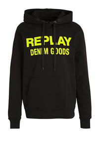 REPLAY hoodie met logo zwart/geel, Zwart/geel