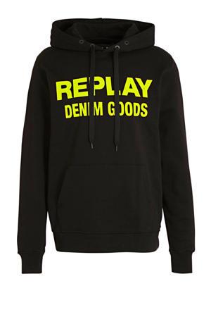 hoodie met logo zwart/geel