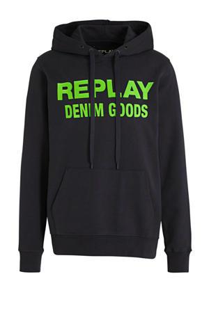 hoodie met logo donkerblauw/groen