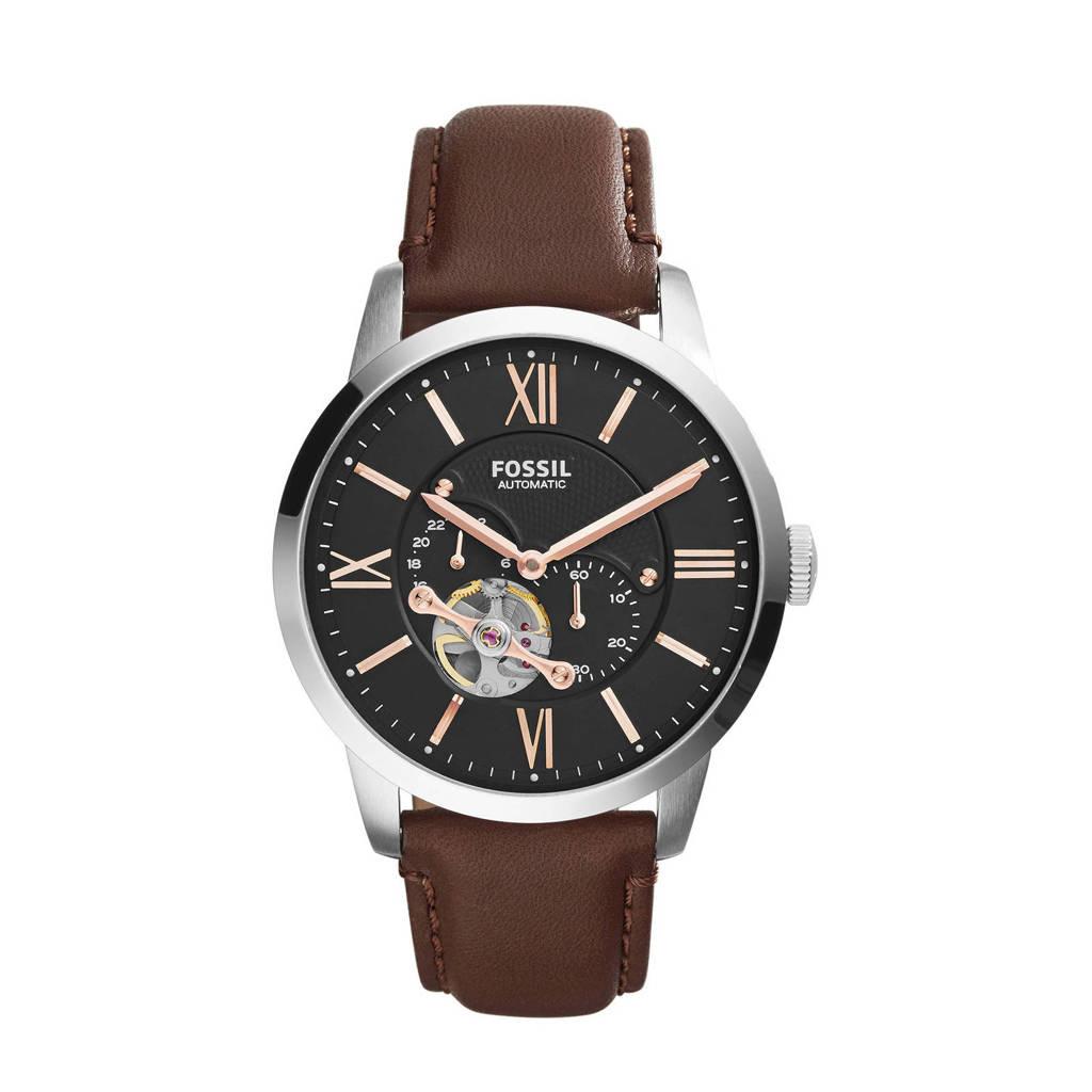 Fossil horloge Townsman ME3061 bruin/ziverkleur, Donkerbruin