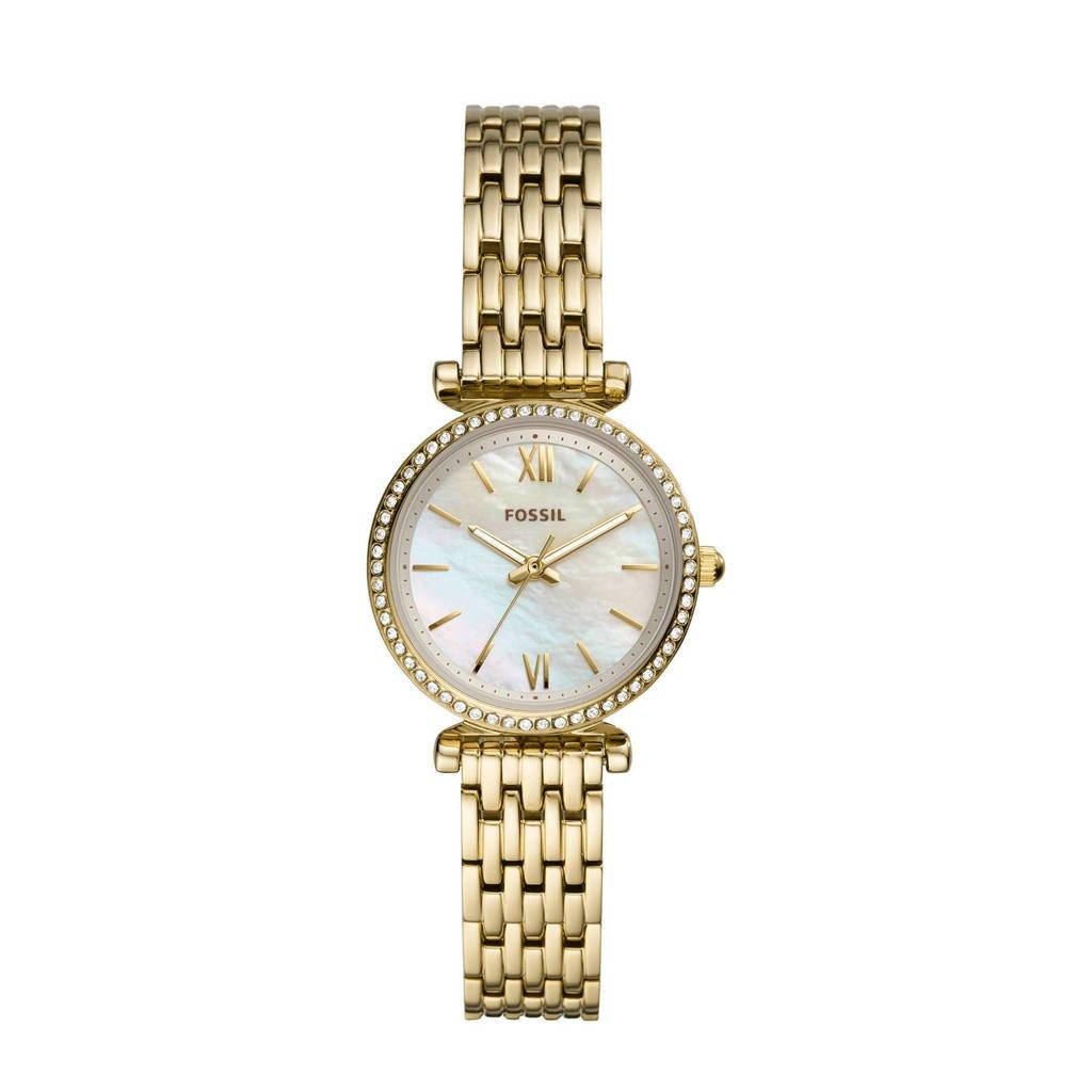 Fossil Carlie Mini Dames Horloge ES4735, Goudkleurig