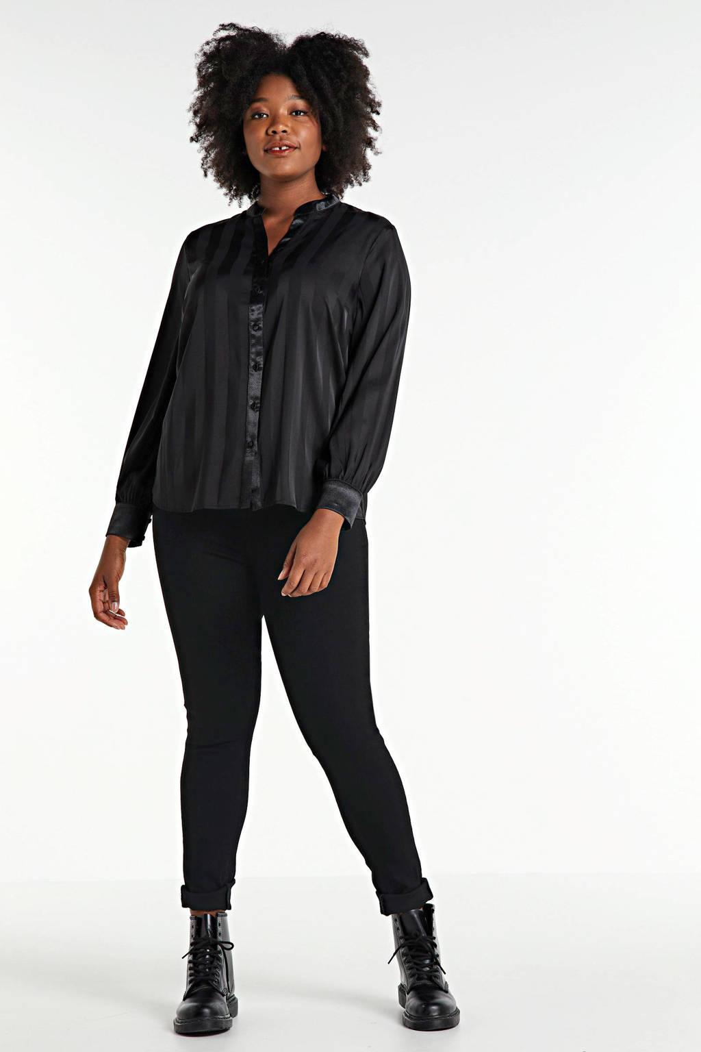 ONLY CARMAKOMA high waist skinny jeans met biologisch katoen zwart, Zwart