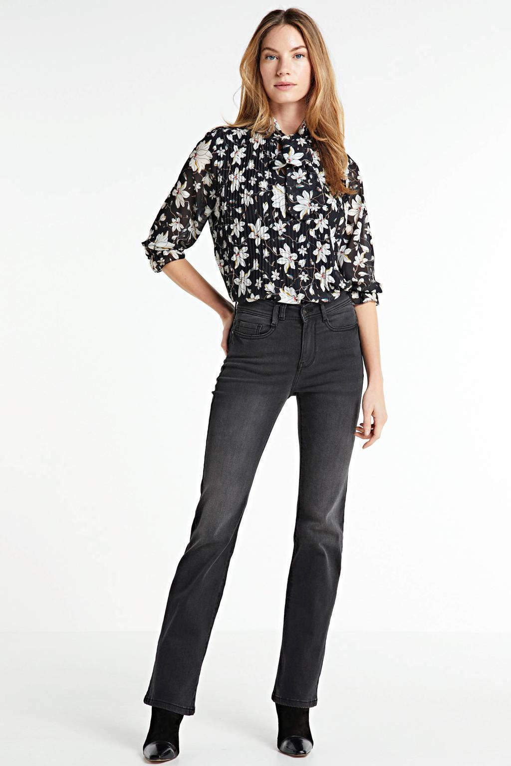 Zabaione blouse met all over print zwart, Zwart