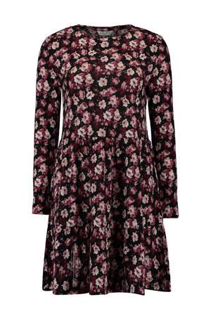 blousejurk met all over print zwart/rood