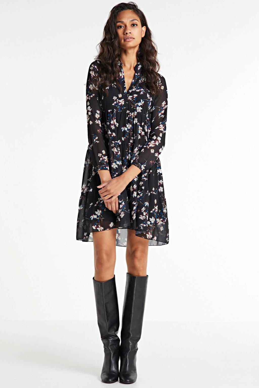 Zabaione blousejurk met all over print zwart, Zwart