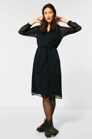 semi-transparante jurk met printopdruk donkergroen