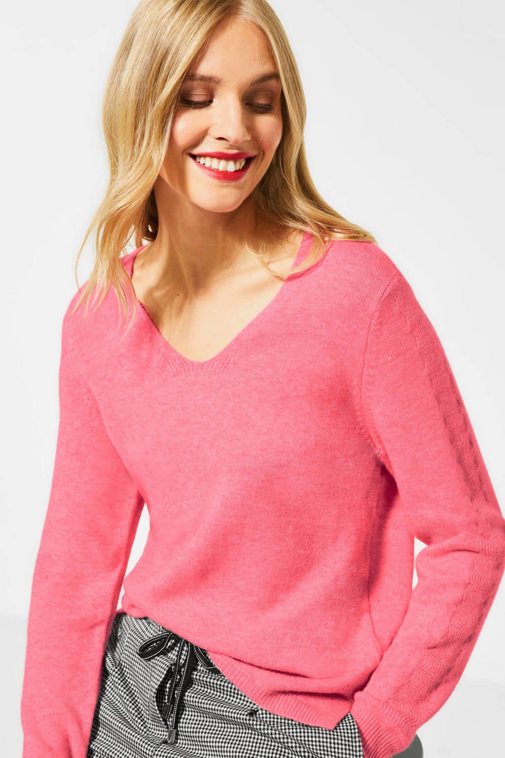 Street One gemêleerde fijngebreide trui roze, Roze