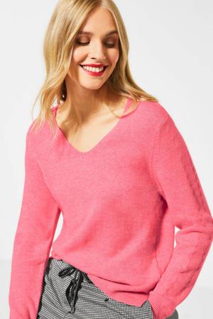 gemêleerde fijngebreide trui roze