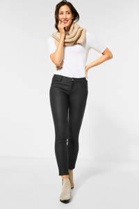 Street One coated skinny broek zwart, Zwart
