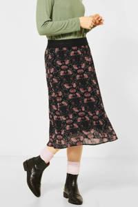 Street One gebloemde semi-transparante rok zwart/oudroze/groen, Zwart/oudroze/groen