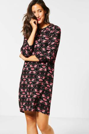 jurk met all over print zwart/roze/groen