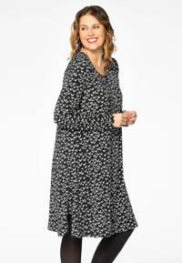 Yoek jurk met all over print en plooien zwart/wit, Zwart/wit