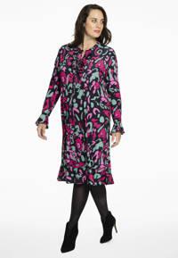 Yoek jurk met all over print en ruches zwart/roze/groen, Zwart/roze/groen