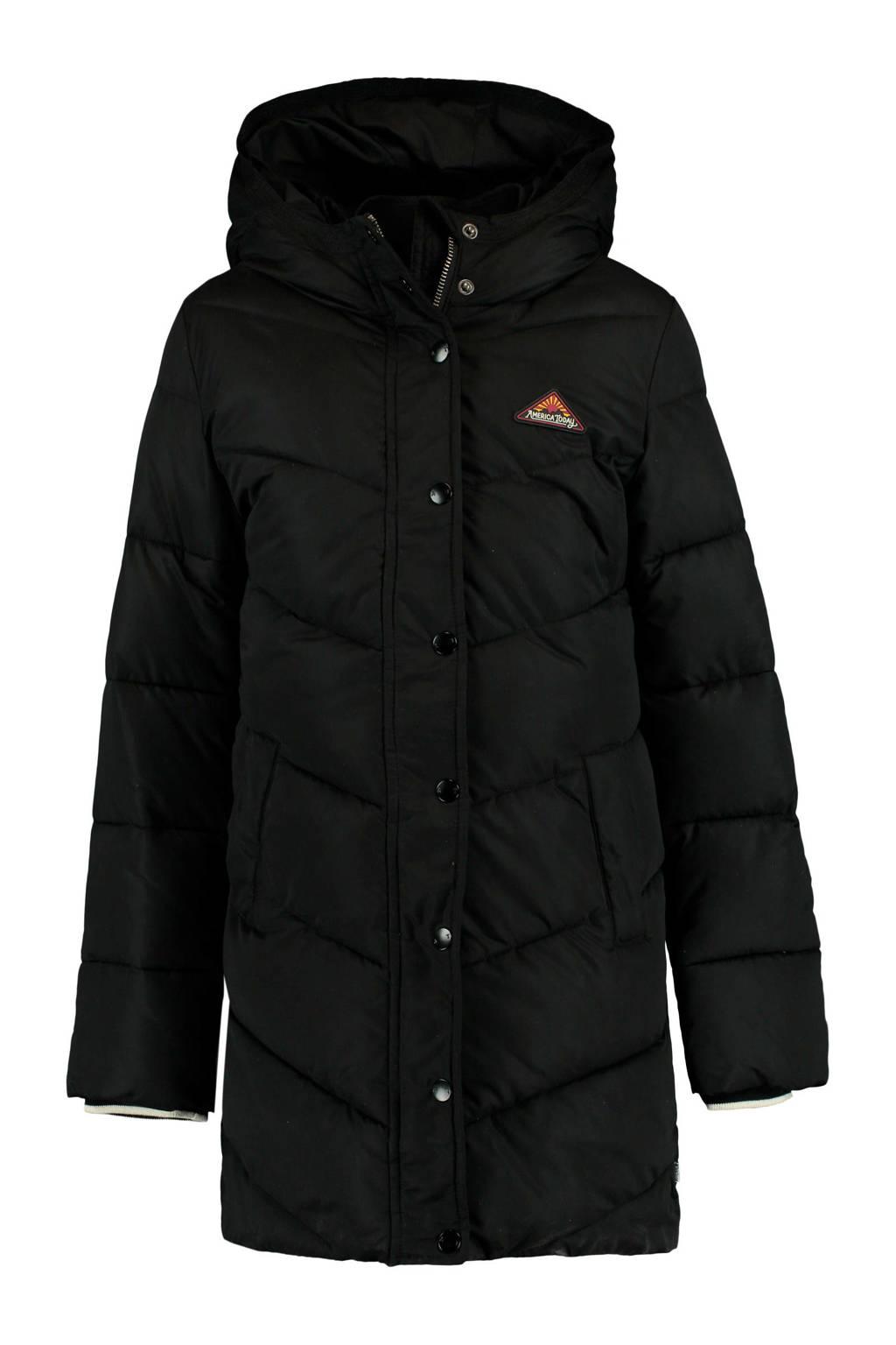 America Today Junior gewatteerde winterjas Jules zwart, Zwart