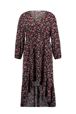 gebloemde jurk Melina zwart/groen/roze
